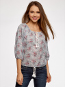 Блузка свободного силуэта с завязками oodji для женщины (белый), 21424003/13504/126EE