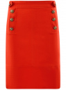 Юбка прямая с декоративными пуговицами oodji #SECTION_NAME# (красный), 21600305/46430/4500N