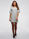 Платье прямого силуэта с карманами oodji для женщины (серый), 14008017-2/46895/2000M