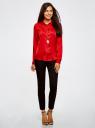 Блузка приталенного силуэта из атласной ткани oodji для женщины (красный), 21401243-1/38413/4500N