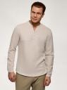 Рубашка прямого силуэта изо льна oodji для мужчины (бежевый), 3B320002M-1/49987N/3300N
