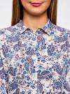Блузка принтованная из вискозы oodji #SECTION_NAME# (синий), 11411098-1/24681/1275E - вид 4