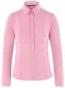 Рубашка базовая хлопковая oodji для женщины (розовый), 21400391/33431/4000N