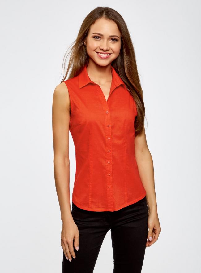 Рубашка базовая без рукавов oodji для женщины (красный), 11405063-6/45510/4500N