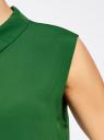 Блузка базовая без рукавов с воротником oodji #SECTION_NAME# (зеленый), 11411084B/43414/6E00N - вид 5