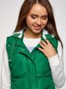 Жилет стеганый с капюшоном oodji для женщины (зеленый), 19400016-3B/48931/6E00N