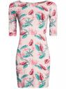 Платье трикотажное облегающее oodji #SECTION_NAME# (розовый), 14001121-3B/16300/4073F