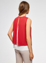 Блузка двуцветная многослойная oodji #SECTION_NAME# (красный), 14901418/26546/124DB - вид 3