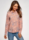 Блузка базовая из вискозы oodji для женщины (розовый), 11411136B/26346/5420E