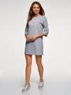 Платье прямого силуэта с надписью на груди oodji #SECTION_NAME# (серый), 14008028-3/48940/2040Z - вид 6