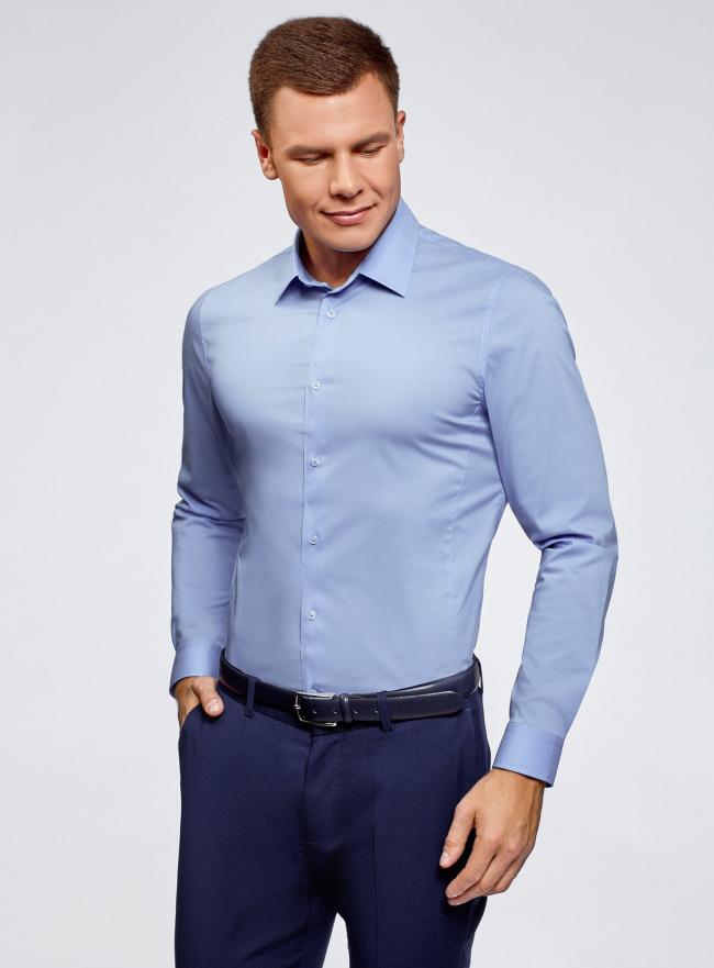 Рубашка базовая приталенная oodji для мужчины (синий), 3B140000M/34146N/7002N