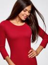 Платье трикотажное с вырезом-капелькой на спине oodji #SECTION_NAME# (красный), 24001070-5/15640/4500N - вид 4