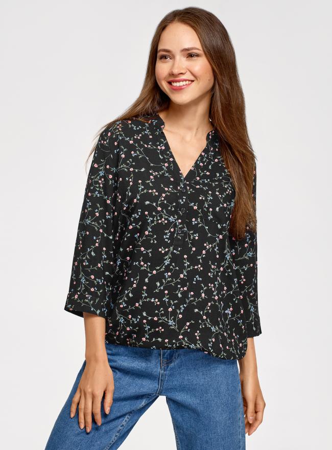 Блузка вискозная с рукавом-трансформером 3/4 oodji для женщины (черный), 11403189-3B/26346/2954F