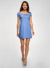 Платье хлопковое со сборками на груди oodji #SECTION_NAME# (синий), 11902047-2B/14885/7503N - вид 2