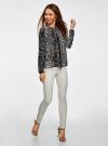 Блузка из струящейся ткани с контрастной отделкой oodji #SECTION_NAME# (серый), 11411059-2/38375/2029A - вид 6