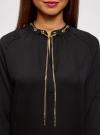 Блузка из струящейся ткани с металлическим украшением oodji #SECTION_NAME# (черный), 21414004/45906/2900N - вид 4