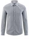 Рубашка хлопковая в мелкую графику oodji #SECTION_NAME# (синий), 3L110299M/19370N/7910G