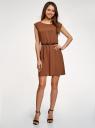 Платье вискозное без рукавов oodji #SECTION_NAME# (коричневый), 11910073B/26346/3701N - вид 2