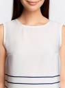 Топ принтованный из струящейся ткани oodji для женщины (белый), 21400351/35542/1279S
