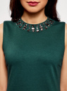 Платье трикотажное с декором из камней oodji #SECTION_NAME# (зеленый), 24005134/38261/6C00N - вид 4