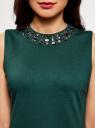 Платье трикотажное с декором из камней oodji для женщины (зеленый), 24005134/38261/6C00N
