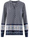 Блузка прямого силуэта с V-образным вырезом oodji #SECTION_NAME# (синий), 21400394-3/24681/7923E