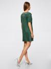 Платье из искусственной замши с декором из металлических страз oodji #SECTION_NAME# (зеленый), 18L01001/45622/6E00N - вид 3