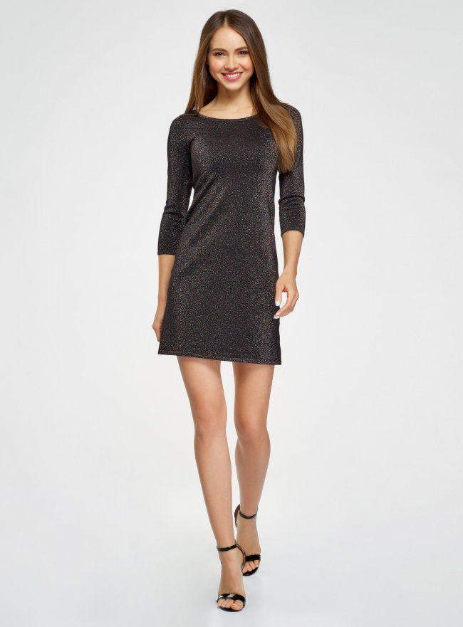 Платье с разноцветным люрексом oodji #SECTION_NAME# (черный), 73912219/45965/2900X