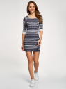 Платье трикотажное с этническим принтом oodji #SECTION_NAME# (серый), 14001064-3/35468/7923J - вид 2