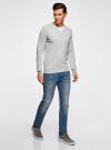 Пуловер базовый комбинированный oodji #SECTION_NAME# (серый), 4B212003M-1/21702N/2300M - вид 6