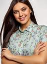 Блузка вискозная свободного силуэта oodji для женщины (зеленый), 11405139-1/24681/6554F