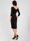 Платье облегающее с вырезом-лодочкой oodji #SECTION_NAME# (черный), 14017001/42376/2900N - вид 3