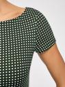 Платье трикотажное принтованное oodji #SECTION_NAME# (зеленый), 14001117-7/16564/6912G - вид 5