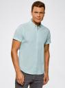 Рубашка клетчатая с коротким рукавом oodji #SECTION_NAME# (бирюзовый), 3L210030M/44192N/106CC - вид 2