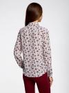Блузка принтованная с контрастным бантом oodji #SECTION_NAME# (белый), 11411058/43277/1245F - вид 3