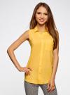 Топ вискозный с нагрудным карманом oodji для женщины (желтый), 11411108B/26346/5200N - вид 2