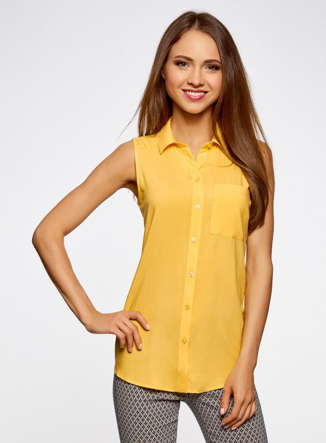 Топ вискозный с нагрудным карманом oodji для женщины (желтый), 11411108B/26346/5200N