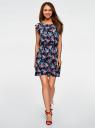 Платье вискозное без рукавов oodji #SECTION_NAME# (синий), 11910073B/26346/7941F - вид 2