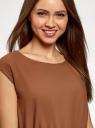 Платье вискозное без рукавов oodji #SECTION_NAME# (коричневый), 11910073B/26346/3701N - вид 4