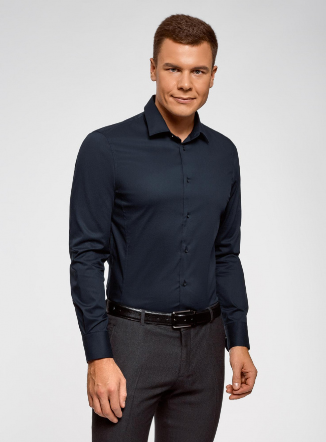 Рубашка базовая приталенная oodji #SECTION_NAME# (синий), 3B140000M/34146N/7900N