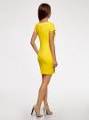 Платье трикотажное с вырезом-лодочкой oodji #SECTION_NAME# (желтый), 14001117-2B/16564/5100N - вид 3