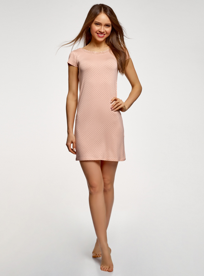 Платье домашнее с кружевной отделкой oodji для женщины (розовый), 59801022/19768/4029D