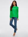 Блузка вискозная А-образного силуэта oodji #SECTION_NAME# (зеленый), 21411113B/26346/6A00N - вид 6