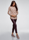 Блузка из вискозы с воротником-стойкой oodji #SECTION_NAME# (бежевый), 21411063-3B/48458/3345F - вид 6
