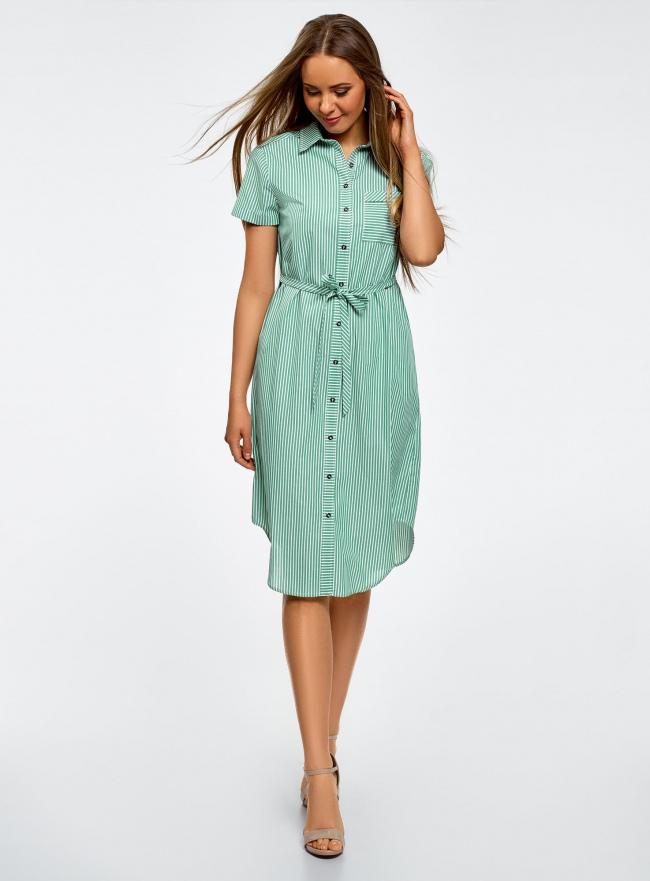 Платье-рубашка с поясом и нагрудным карманом oodji для женщины (зеленый), 11911028/33511/1062S