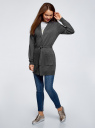 Кардиган с поясом и накладными карманами oodji #SECTION_NAME# (серый), 63212601/43755/2500M - вид 6