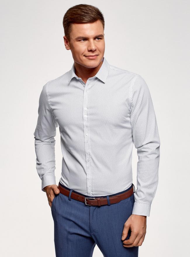 Рубашка из хлопка принтованная oodji #SECTION_NAME# (белый), 3L110311M/47778N/1079O