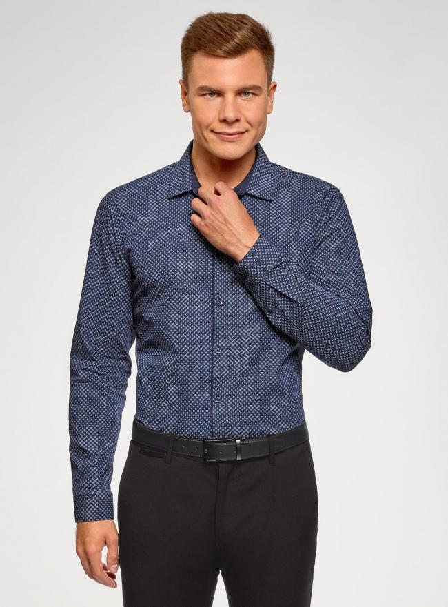 Рубашка хлопковая в мелкую графику oodji #SECTION_NAME# (синий), 3L110376M/19370N/7975G