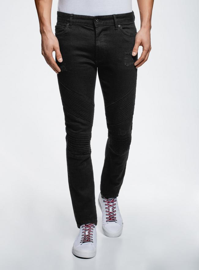 Джинсы slim в байкерском стиле oodji для мужчины (черный), 6L100022M/47884/2900W