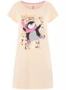 Платье домашнее с принтом oodji для женщины (бежевый), 59801006-24/46154/3329P
